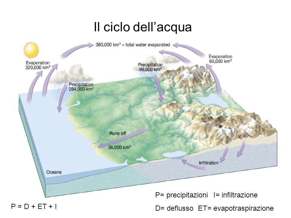P = D + ET + I Il ciclo dellacqua P= precipitazioniI= infiltrazione D= deflusso ET= evapotraspirazione