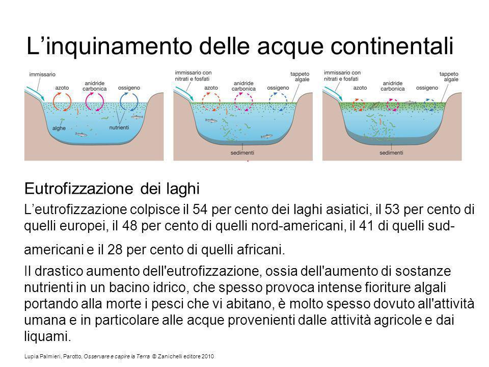 Lupia Palmieri, Parotto, Osservare e capire la Terra © Zanichelli editore 2010 Linquinamento delle acque continentali Eutrofizzazione dei laghi Leutrofizzazione colpisce il 54 per cento dei laghi asiatici, il 53 per cento di quelli europei, il 48 per cento di quelli nord-americani, il 41 di quelli sud- americani e il 28 per cento di quelli africani.