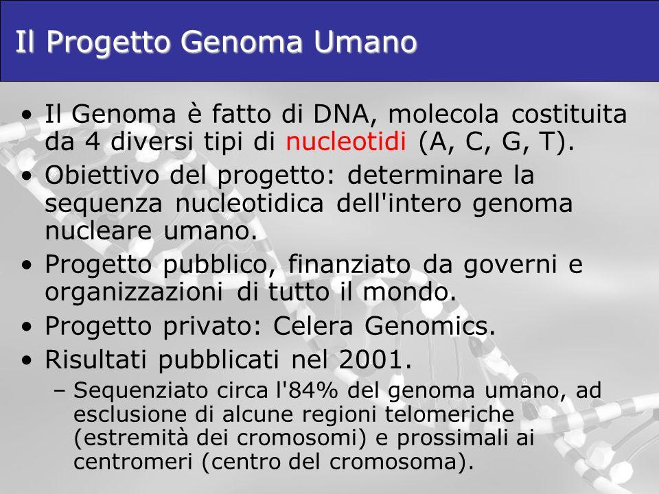 Il Progetto Genoma Umano Il Genoma è fatto di DNA, molecola costituita da 4 diversi tipi di nucleotidi (A, C, G, T). Obiettivo del progetto: determina