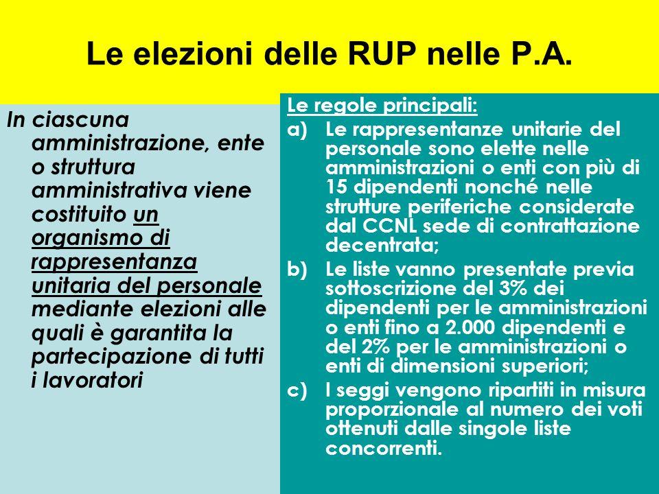 Le elezioni delle RUP nelle P.A. In ciascuna amministrazione, ente o struttura amministrativa viene costituito un organismo di rappresentanza unitaria
