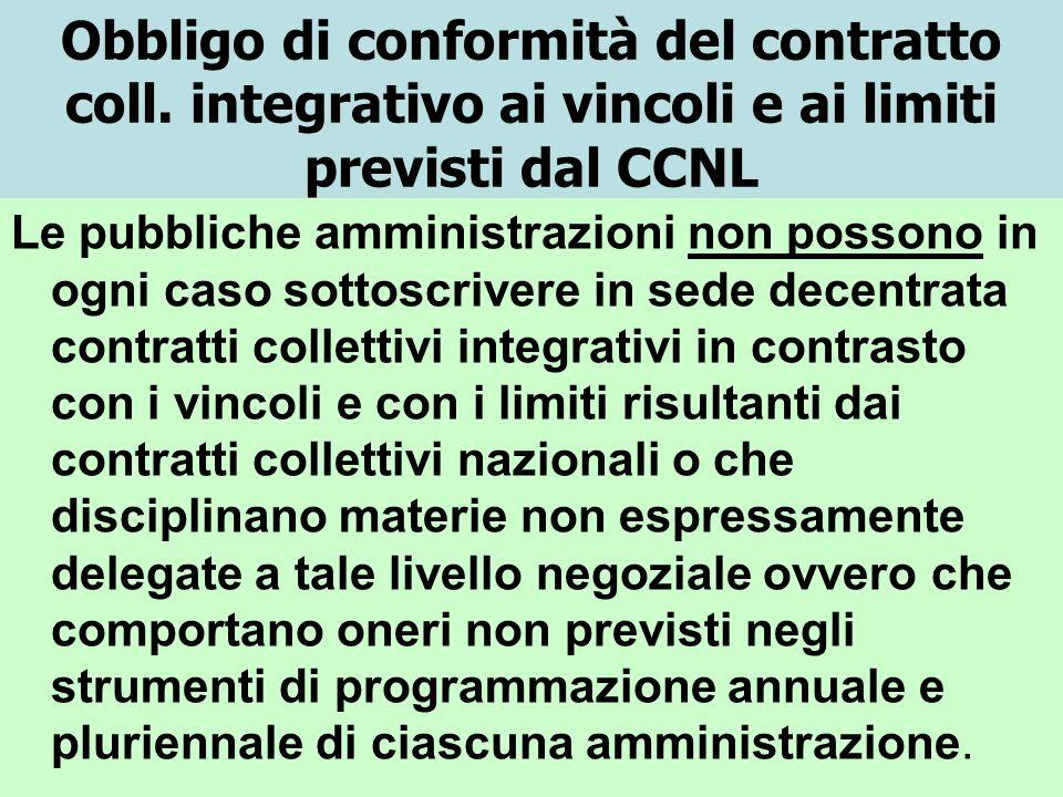 Obbligo di conformità del contratto coll. integrativo ai vincoli e ai limiti previsti dal CCNL Le pubbliche amministrazioni non possono in ogni caso s