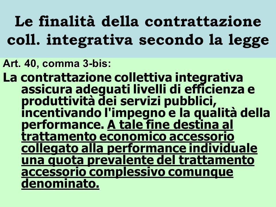 Le finalità della contrattazione coll. integrativa secondo la legge Art. 40, comma 3-bis: La contrattazione collettiva integrativa assicura adeguati l