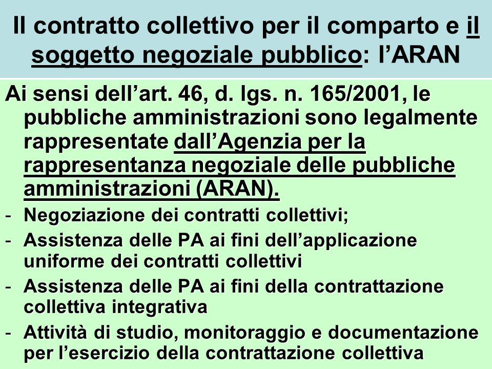 Il contratto collettivo per il comparto e il soggetto negoziale pubblico: lARAN Ai sensi dellart. 46, d. lgs. n. 165/2001, le pubbliche amministrazion