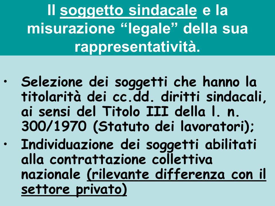 Il soggetto sindacale e la misurazione legale della sua rappresentatività. Selezione dei soggetti che hanno la titolarità dei cc.dd. diritti sindacali