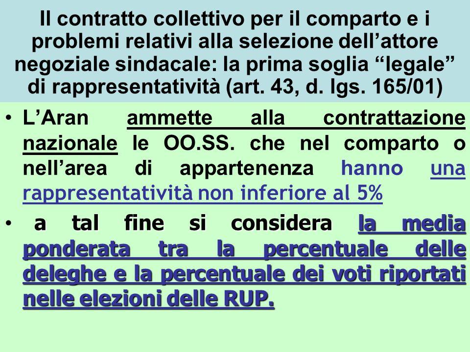 Il contratto collettivo per il comparto e i problemi relativi alla selezione dellattore negoziale sindacale: la prima soglia legale di rappresentativi