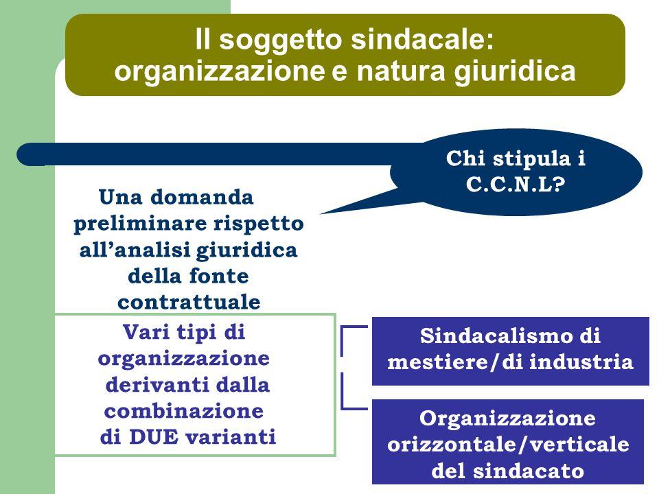 Il contratto collettivo nel sistema delle fonti TIPOLOGIE di contratto collettivo LIVELLI di contratto collettivo