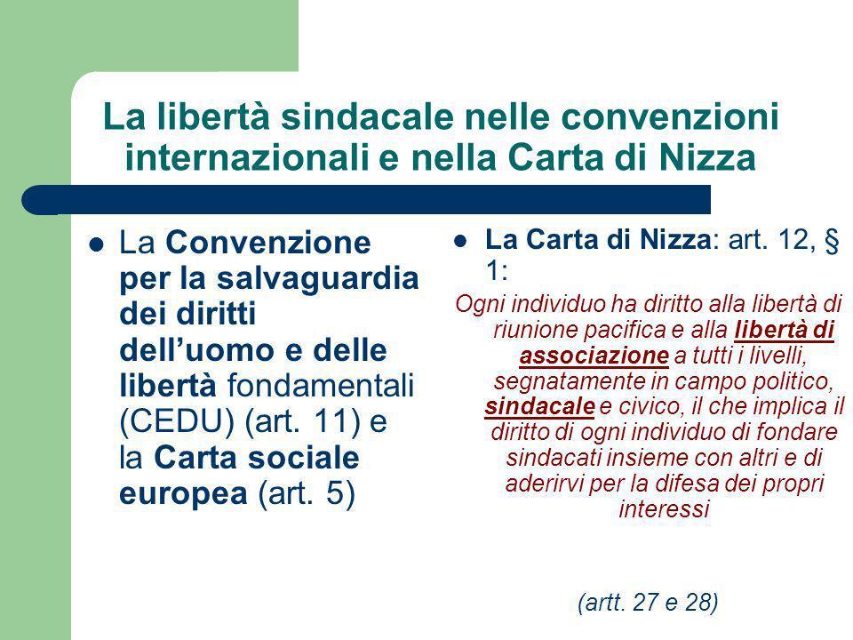 La libertà sindacale nelle convenzioni internazionali e nella Carta di Nizza La Convenzione per la salvaguardia dei diritti delluomo e delle libertà fondamentali (CEDU) (art.