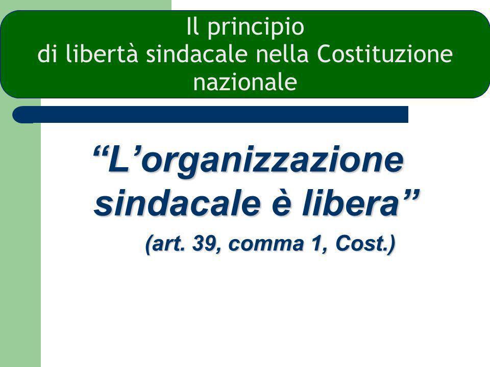 Il principio di libertà sindacale nella Costituzione nazionale Lorganizzazione sindacale èlibera Lorganizzazione sindacale è libera (art.