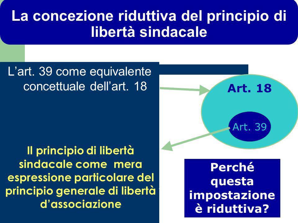 La concezione riduttiva del principio di libertà sindacale Lart.
