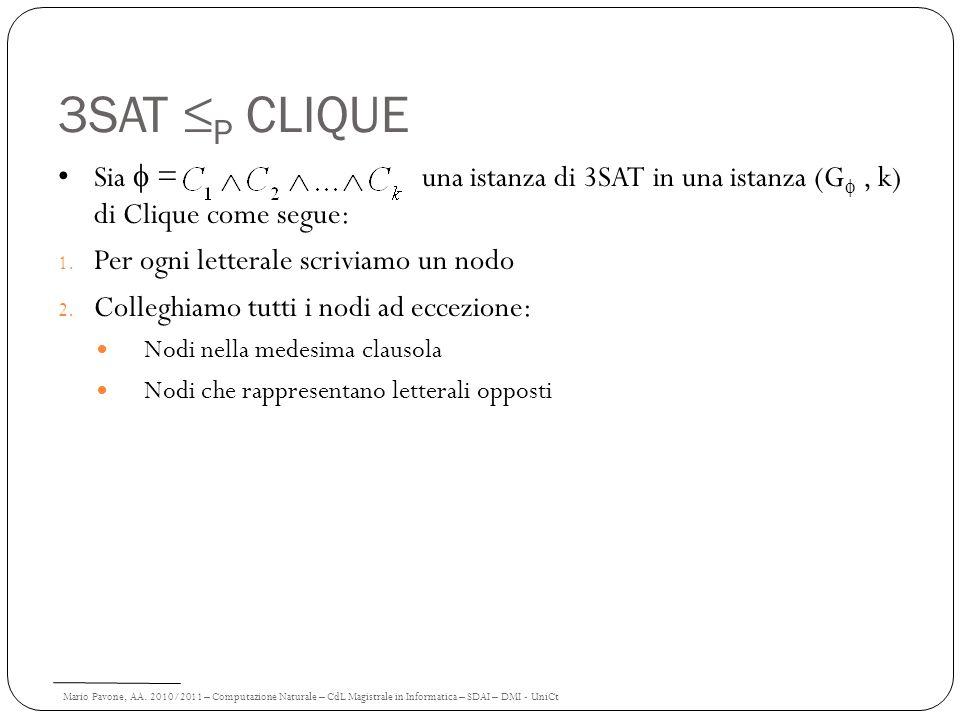 Mario Pavone, AA. 2010/2011 – Computazione Naturale – CdL Magistrale in Informatica – SDAI – DMI - UniCt 3SAT P CLIQUE Sia = una istanza di 3SAT in un