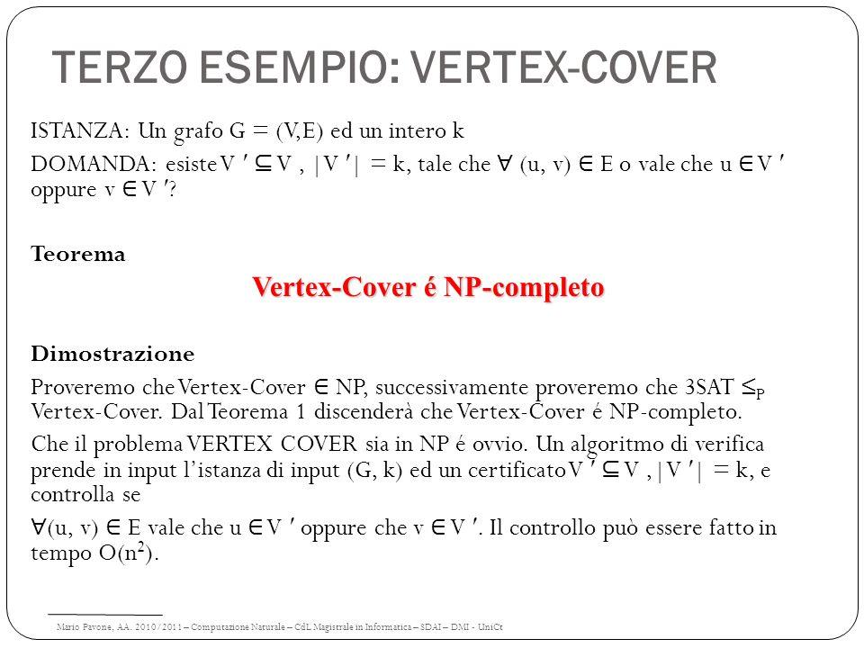 Mario Pavone, AA. 2010/2011 – Computazione Naturale – CdL Magistrale in Informatica – SDAI – DMI - UniCt TERZO ESEMPIO: VERTEX-COVER ISTANZA: Un grafo