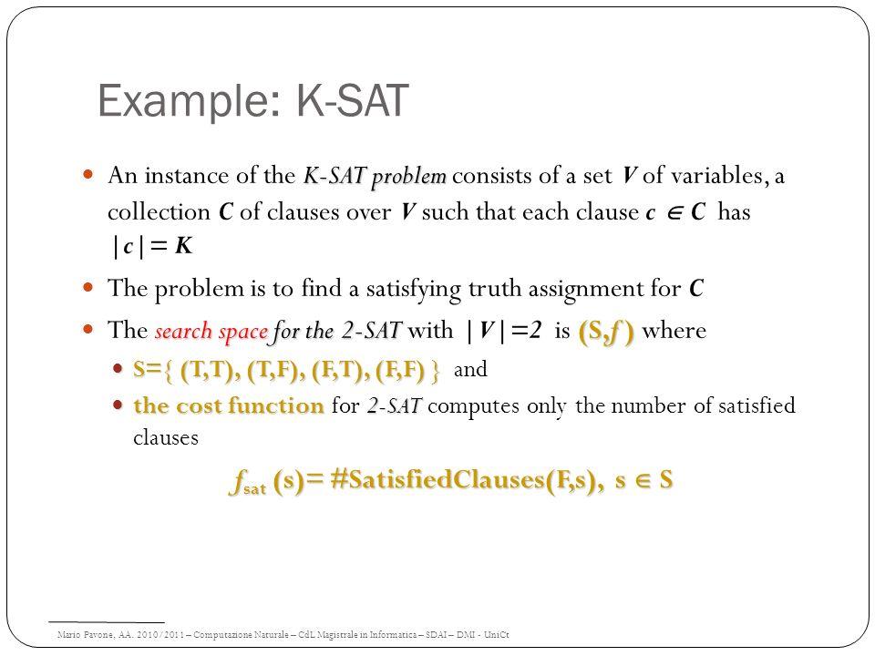 Mario Pavone, AA. 2010/2011 – Computazione Naturale – CdL Magistrale in Informatica – SDAI – DMI - UniCt Example: K-SAT K-SAT problem An instance of t