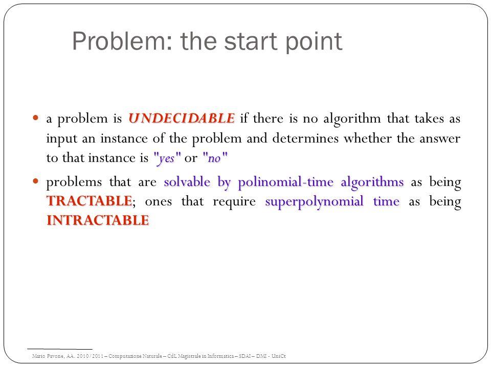 Mario Pavone, AA. 2010/2011 – Computazione Naturale – CdL Magistrale in Informatica – SDAI – DMI - UniCt Problem: the start point UNDECIDABLE