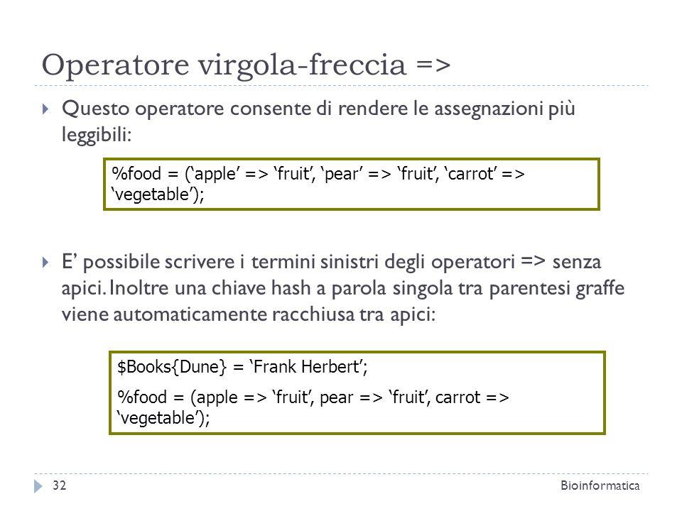 Operatore virgola-freccia => Questo operatore consente di rendere le assegnazioni più leggibili: E possibile scrivere i termini sinistri degli operato