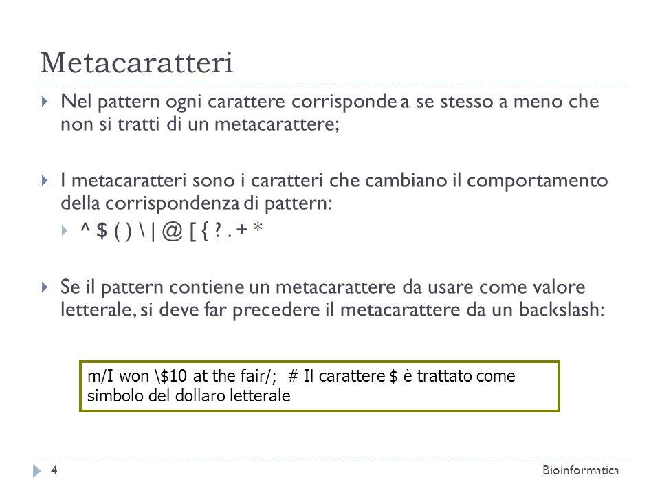 Metacaratteri Nel pattern ogni carattere corrisponde a se stesso a meno che non si tratti di un metacarattere; I metacaratteri sono i caratteri che ca