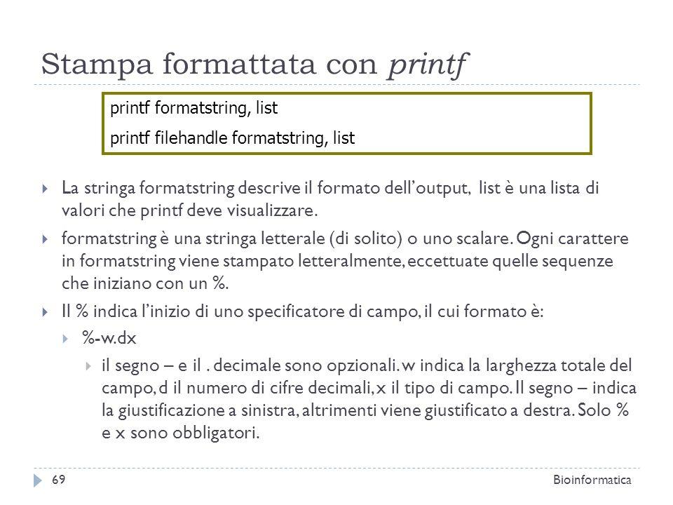 Stampa formattata con printf La stringa formatstring descrive il formato delloutput, list è una lista di valori che printf deve visualizzare. formatst