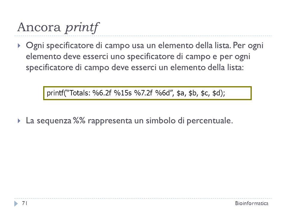 Ancora printf Ogni specificatore di campo usa un elemento della lista. Per ogni elemento deve esserci uno specificatore di campo e per ogni specificat