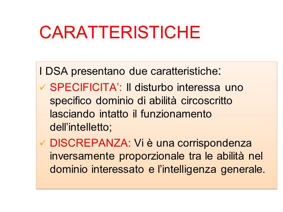 CARATTERISTICHE I DSA presentano due caratteristiche : SPECIFICITA: Il disturbo interessa uno specifico dominio di abilità circoscritto lasciando inta