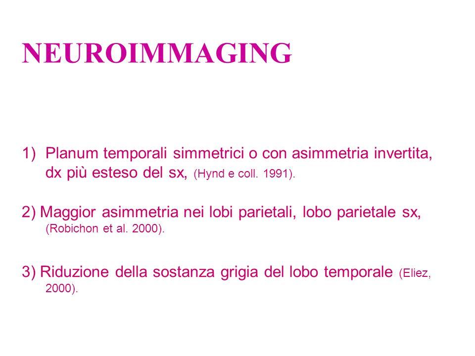 NEUROIMMAGING 1)Planum temporali simmetrici o con asimmetria invertita, dx più esteso del sx, (Hynd e coll. 1991). 2) Maggior asimmetria nei lobi pari