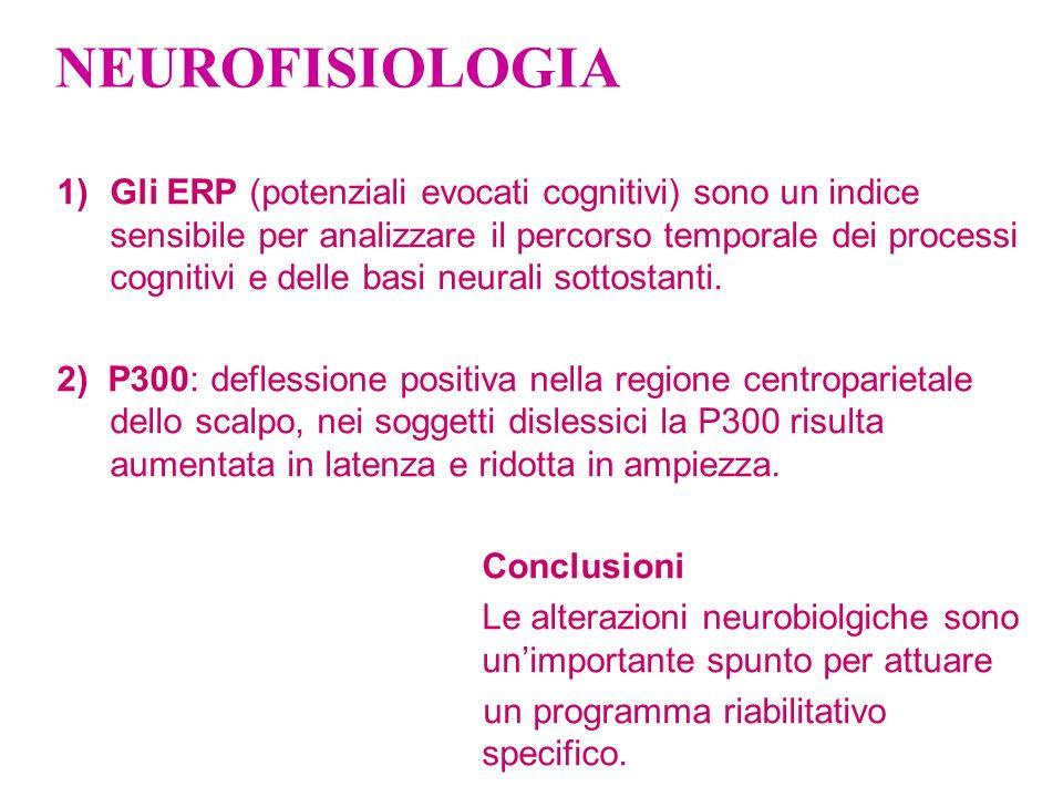 NEUROFISIOLOGIA 1)Gli ERP (potenziali evocati cognitivi) sono un indice sensibile per analizzare il percorso temporale dei processi cognitivi e delle