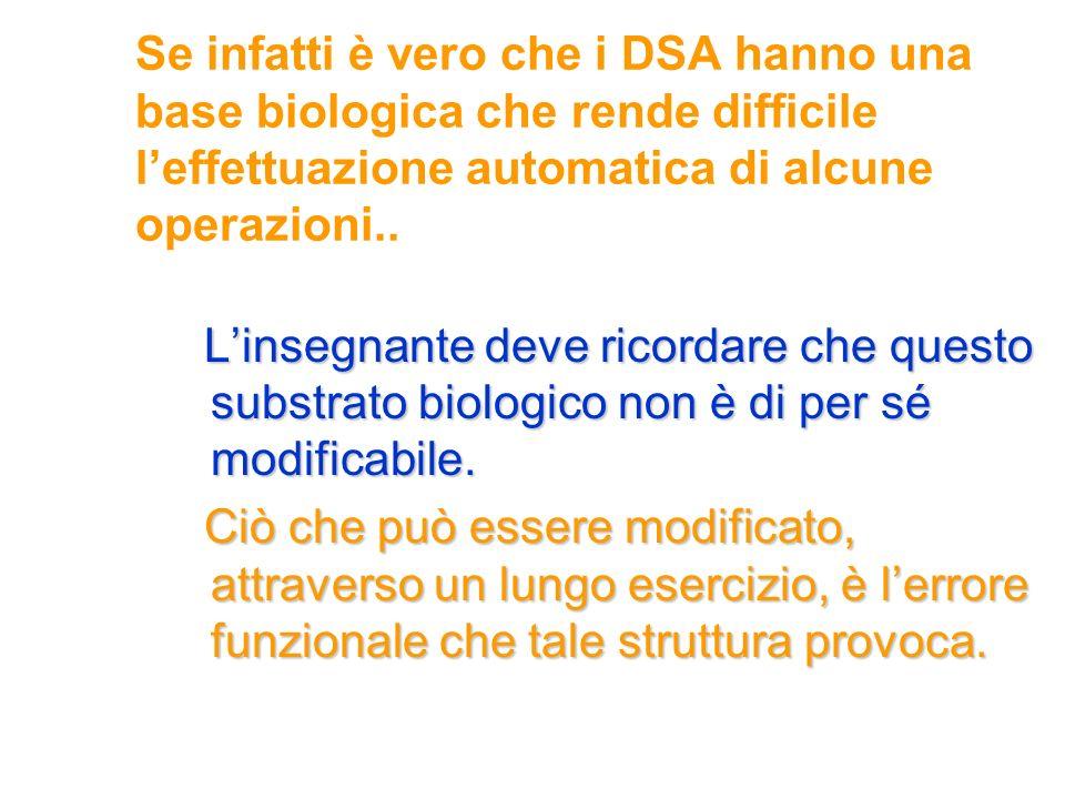 Se infatti è vero che i DSA hanno una base biologica che rende difficile leffettuazione automatica di alcune operazioni.. Linsegnante deve ricordare c