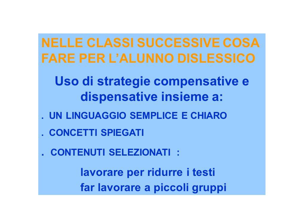 NELLE CLASSI SUCCESSIVE COSA FARE PER LALUNNO DISLESSICO Uso di strategie compensative e dispensative insieme a:. UN LINGUAGGIO SEMPLICE E CHIARO. CON