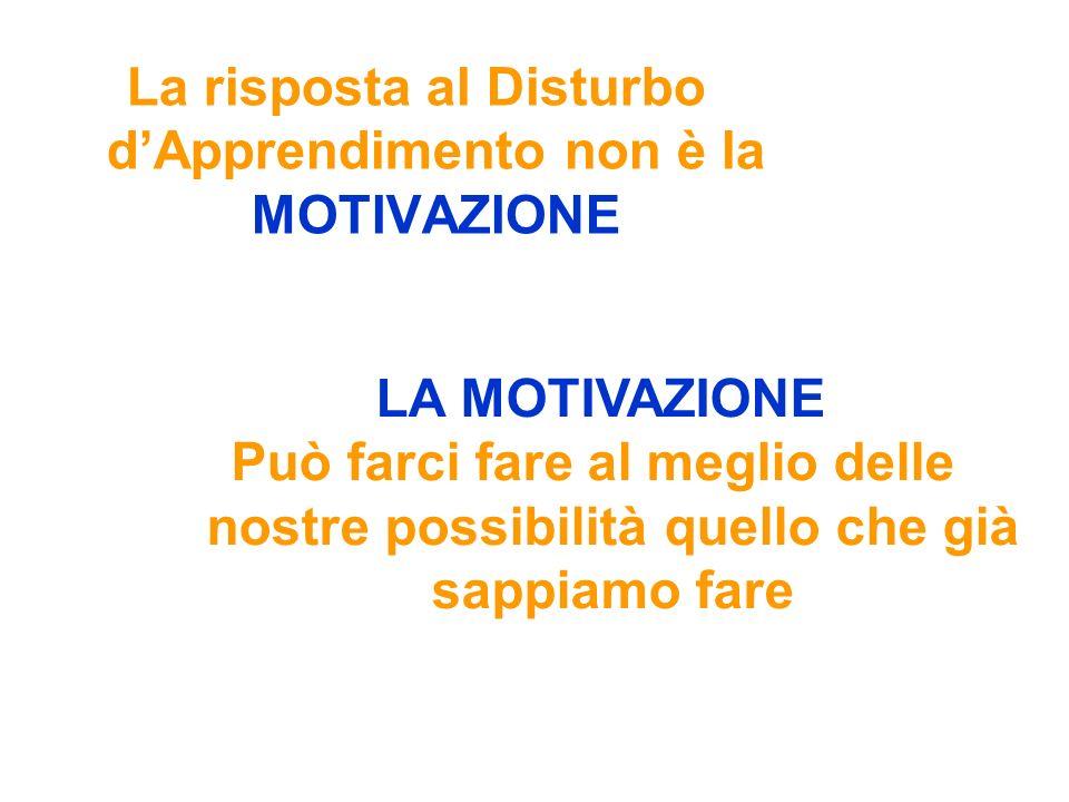 La risposta al Disturbo dApprendimento non è la MOTIVAZIONE LA MOTIVAZIONE Può farci fare al meglio delle nostre possibilità quello che già sappiamo f