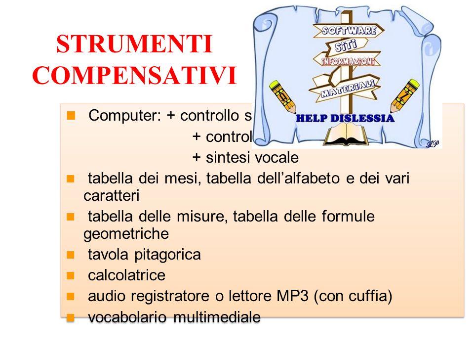 STRUMENTI COMPENSATIVI Computer: + controllo sintattico + controllo ortografico + sintesi vocale tabella dei mesi, tabella dellalfabeto e dei vari car
