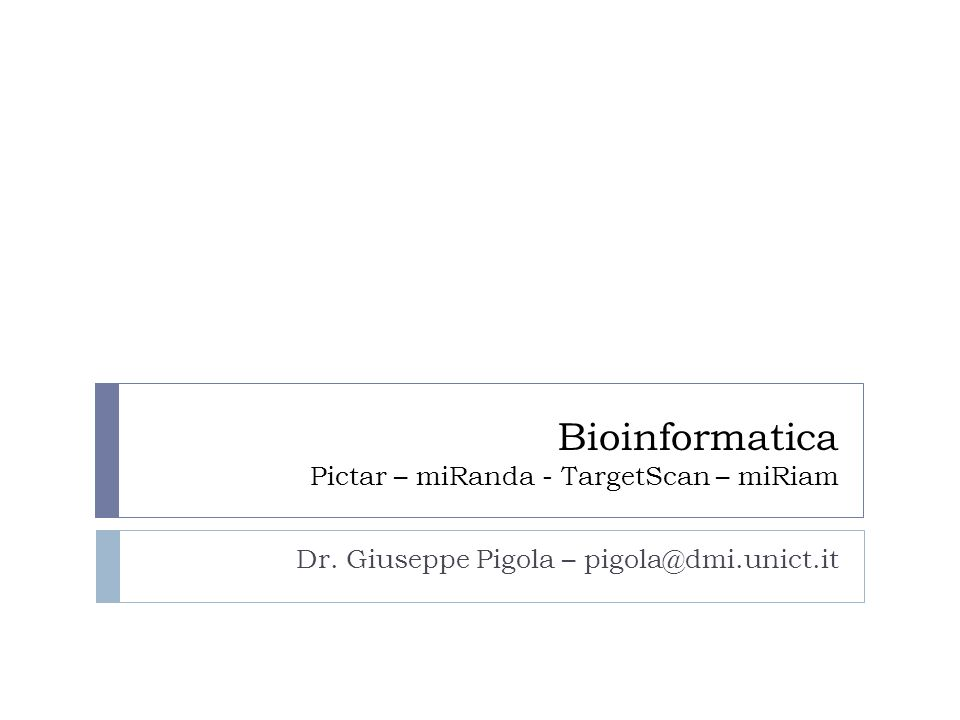 Bioinformatica Pictar – miRanda - TargetScan – miRiam Dr. Giuseppe Pigola – pigola@dmi.unict.it