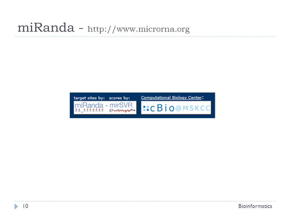 miRanda - http://www.microrna.org Bioinformatica10