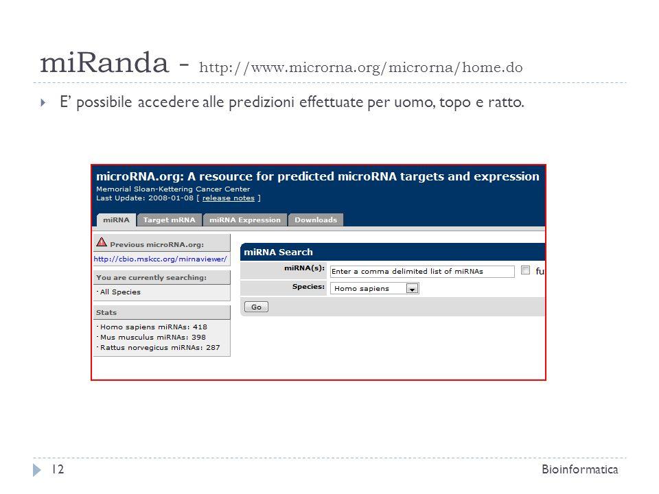 miRanda - http://www.microrna.org/microrna/home.do E possibile accedere alle predizioni effettuate per uomo, topo e ratto. 12Bioinformatica