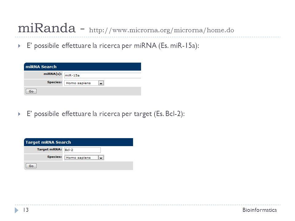 E possibile effettuare la ricerca per miRNA (Es. miR-15a): E possibile effettuare la ricerca per target (Es. Bcl-2): 13Bioinformatica miRanda - http:/