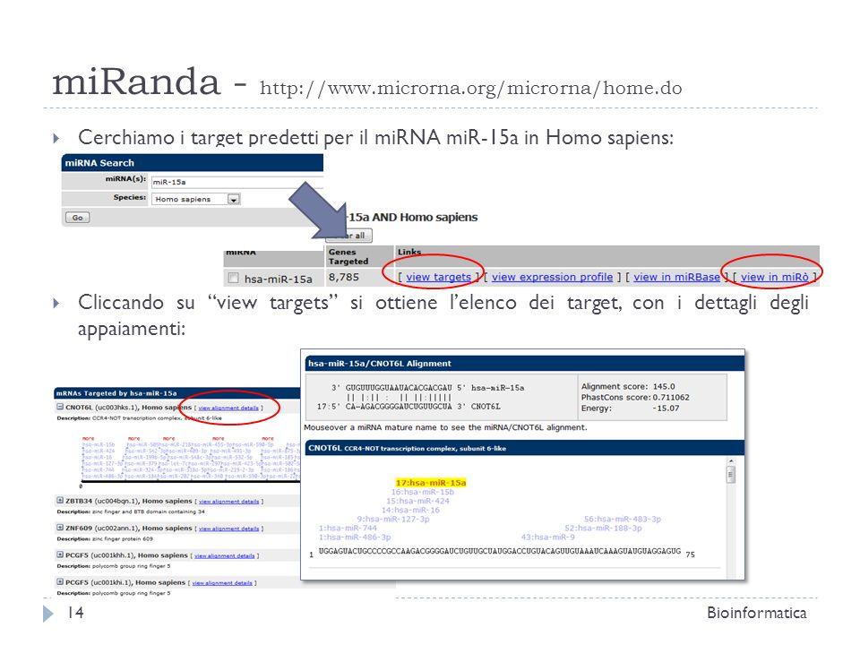 Cerchiamo i target predetti per il miRNA miR-15a in Homo sapiens: Cliccando su view targets si ottiene lelenco dei target, con i dettagli degli appaia