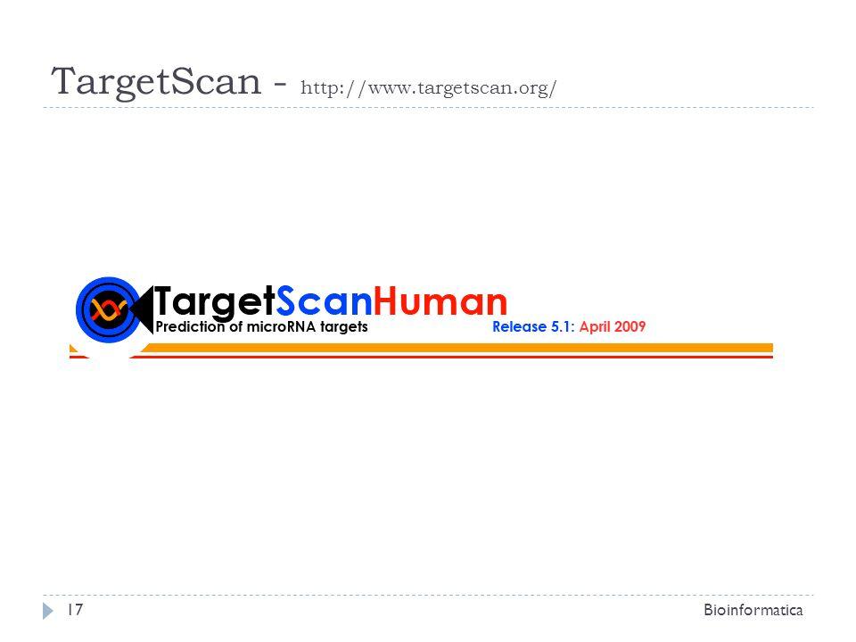 Bioinformatica17 TargetScan - http://www.targetscan.org/