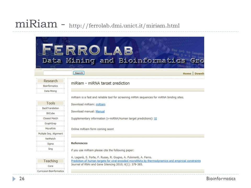 Bioinformatica26 miRiam - http://ferrolab.dmi.unict.it/miriam.html