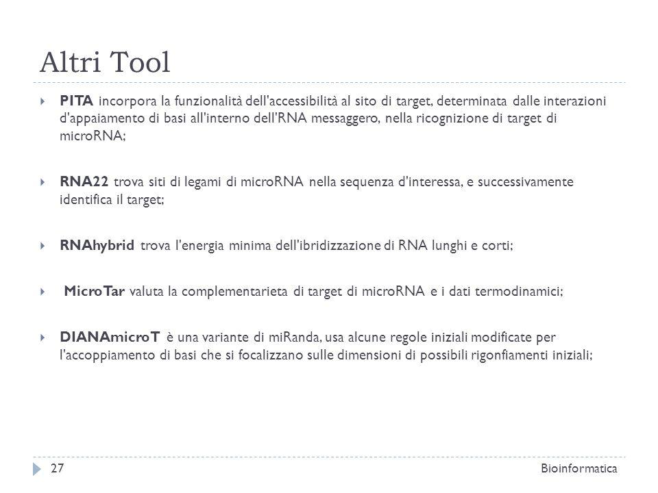 Altri Tool PITA incorpora la funzionalità dell'accessibilità al sito di target, determinata dalle interazioni d'appaiamento di basi all'interno dell'R