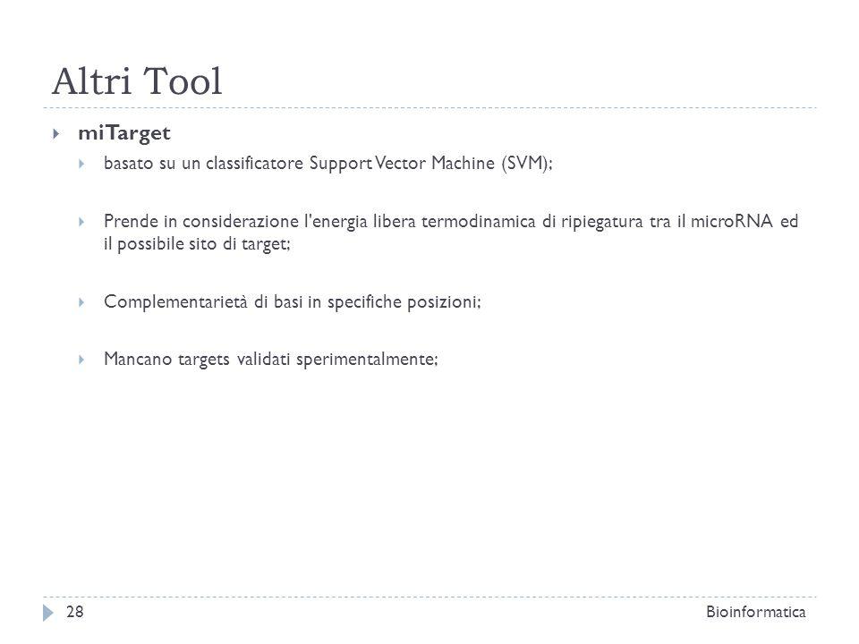 Altri Tool miTarget basato su un classificatore Support Vector Machine (SVM); Prende in considerazione l'energia libera termodinamica di ripiegatura t