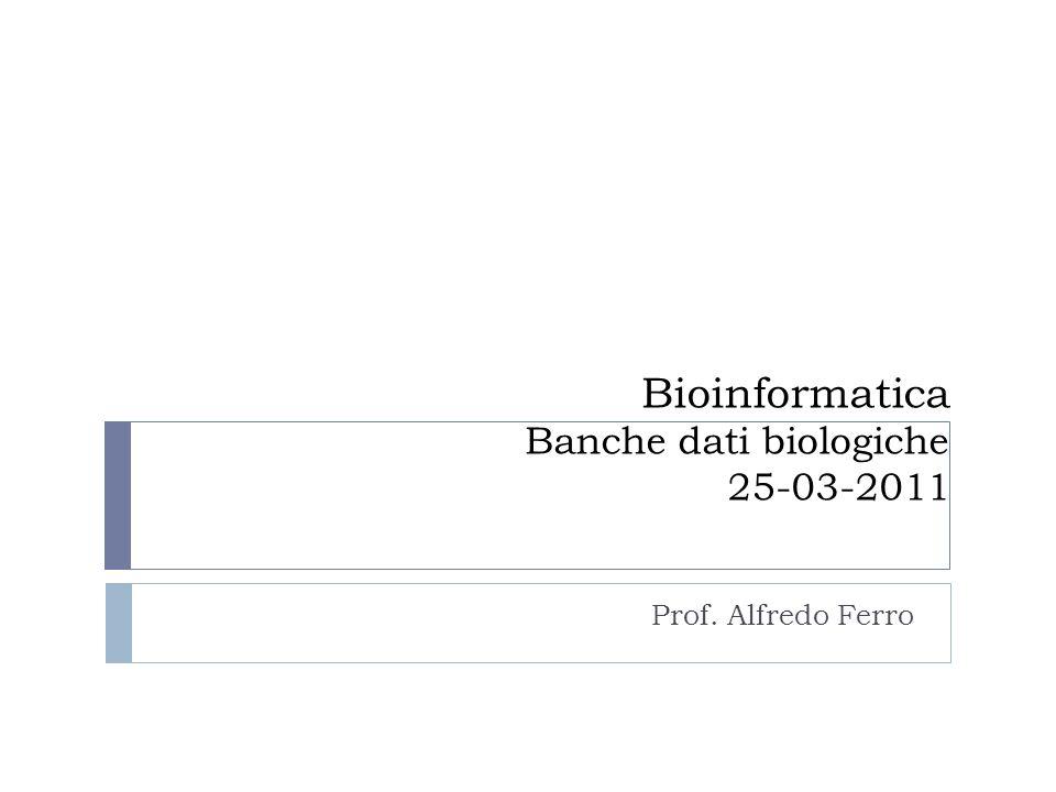 Esempio: BAX su Nucleotide Cliccando sui link a sinistra delle isoforme, nella struttura genica, si può ottenere direttamente la sequenza dellmRNA (In formato Fasta) o la pagina di Genbank relativa a BAX (Database Nucleotide).