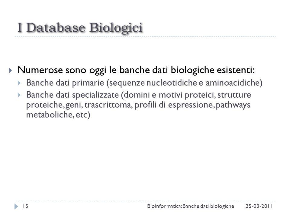 I Database Biologici Numerose sono oggi le banche dati biologiche esistenti: Banche dati primarie (sequenze nucleotidiche e aminoacidiche) Banche dati
