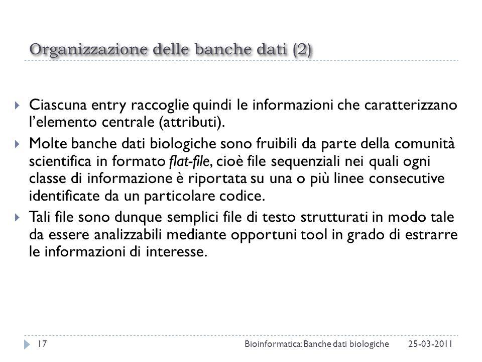 Organizzazione delle banche dati (2) Ciascuna entry raccoglie quindi le informazioni che caratterizzano lelemento centrale (attributi). Molte banche d