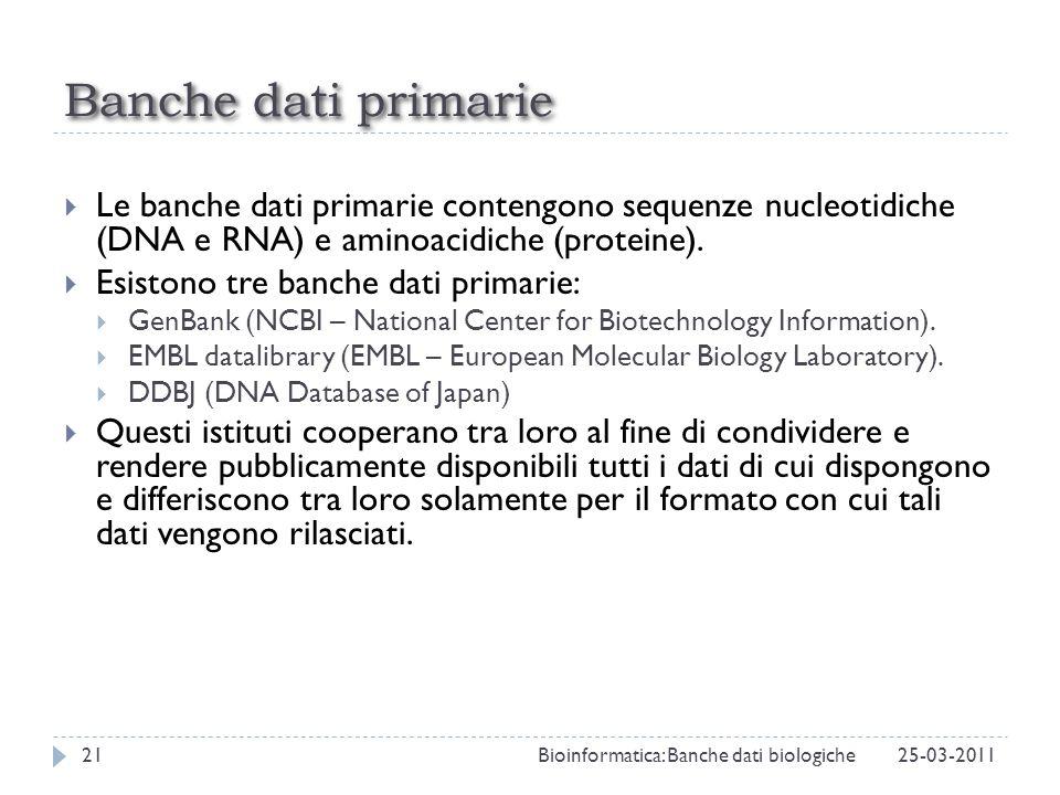 Banche dati primarie Le banche dati primarie contengono sequenze nucleotidiche (DNA e RNA) e aminoacidiche (proteine). Esistono tre banche dati primar