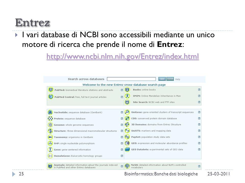 Entrez I vari database di NCBI sono accessibili mediante un unico motore di ricerca che prende il nome di Entrez: http://www.ncbi.nlm.nih.gov/Entrez/i