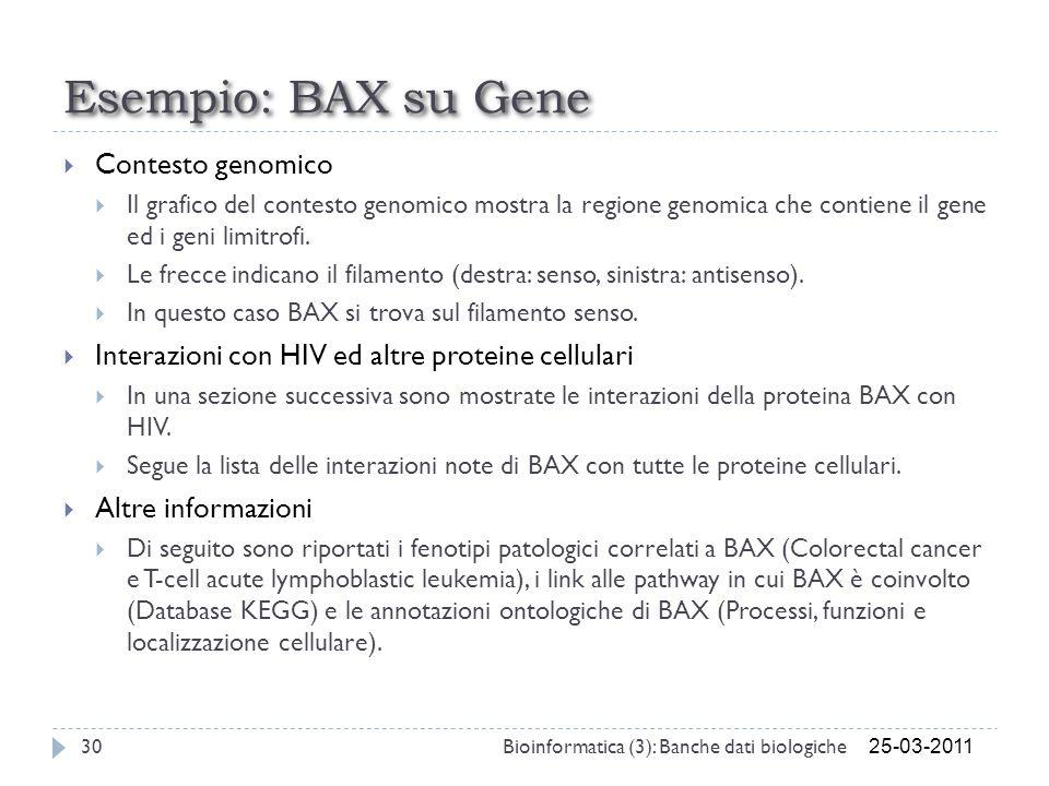 Esempio: BAX su Gene Contesto genomico Il grafico del contesto genomico mostra la regione genomica che contiene il gene ed i geni limitrofi. Le frecce