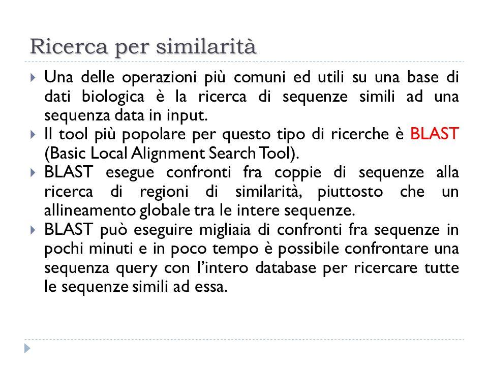 Ricerca per similarità Una delle operazioni più comuni ed utili su una base di dati biologica è la ricerca di sequenze simili ad una sequenza data in