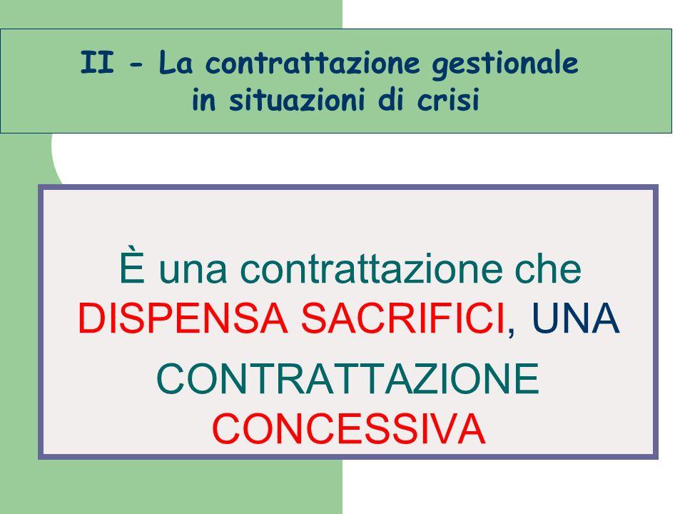 È una contrattazione che DISPENSA SACRIFICI, UNA CONTRATTAZIONE CONCESSIVA II - La contrattazione gestionale in situazioni di crisi