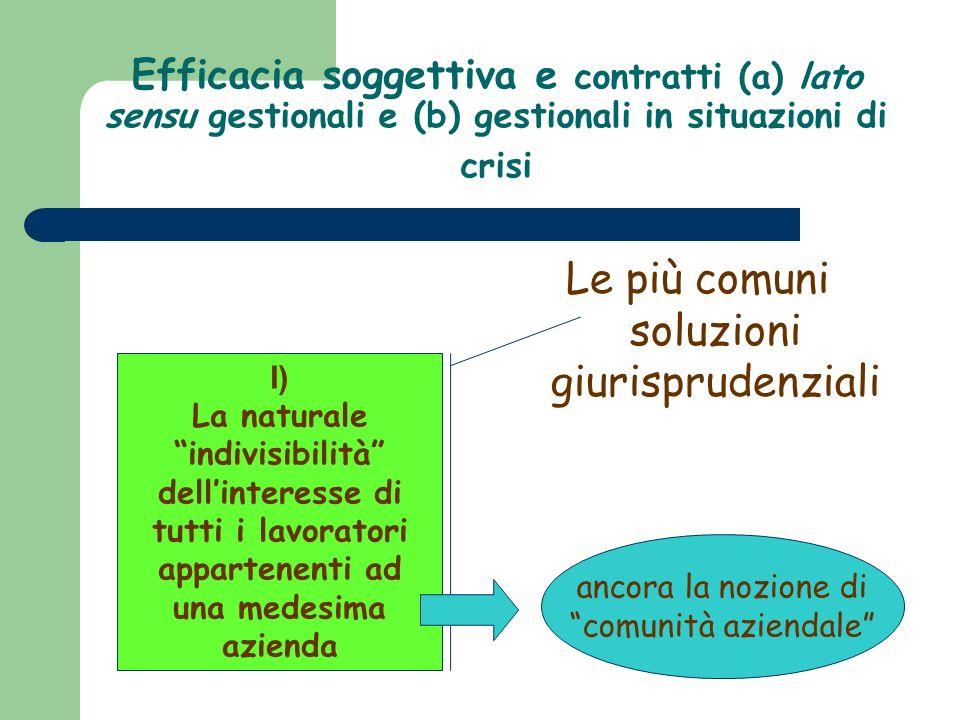 Efficacia soggettiva e contratti (a) lato sensu gestionali e (b) gestionali in situazioni di crisi Le più comuni soluzioni giurisprudenziali I) La nat