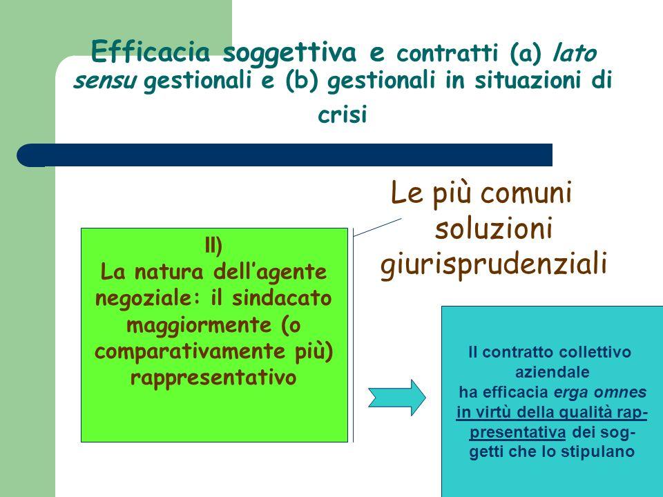 Efficacia soggettiva e contratti (a) lato sensu gestionali e (b) gestionali in situazioni di crisi Le più comuni soluzioni giurisprudenziali II) La na