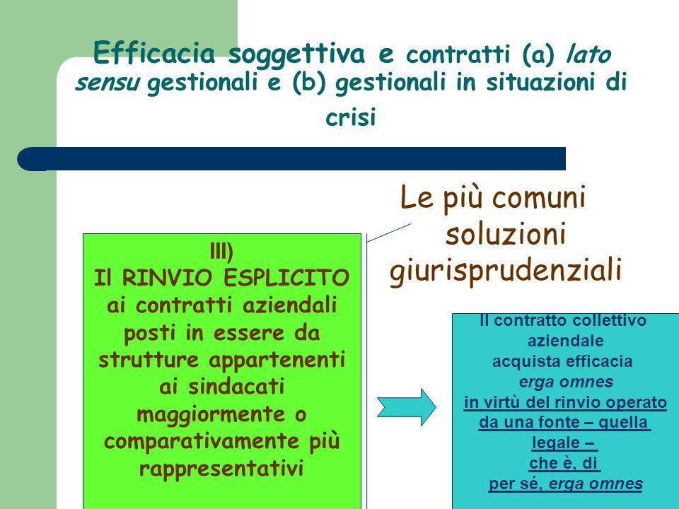 Efficacia soggettiva e contratti (a) lato sensu gestionali e (b) gestionali in situazioni di crisi Le più comuni soluzioni giurisprudenziali III) Il R