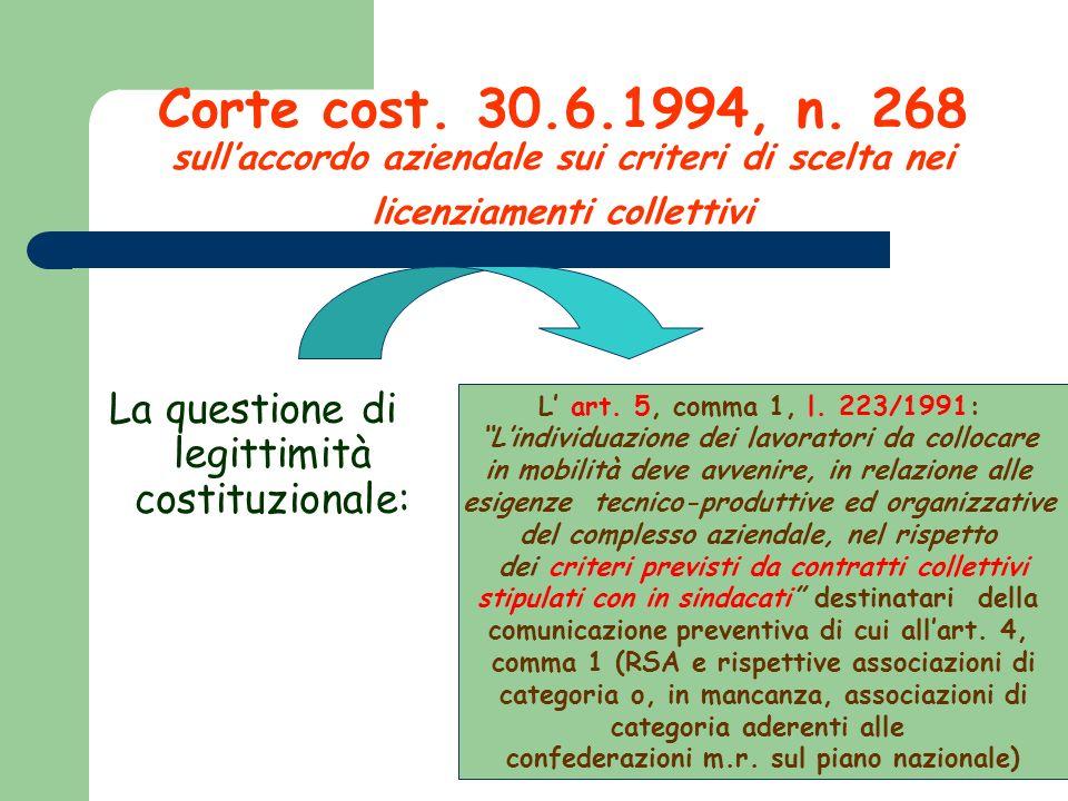 Corte cost. 30.6.1994, n. 268 sullaccordo aziendale sui criteri di scelta nei licenziamenti collettivi La questione di legittimità costituzionale: L a