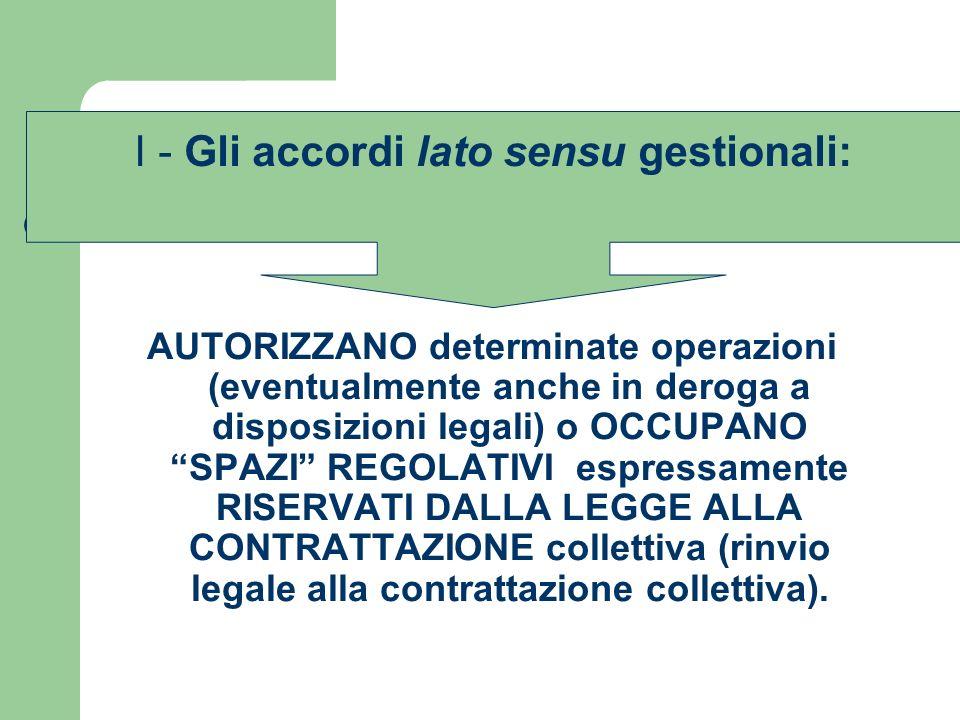 I - Gli accordi lato sensu gestionali: alcuni esempi Accordi conclusi ex artt.
